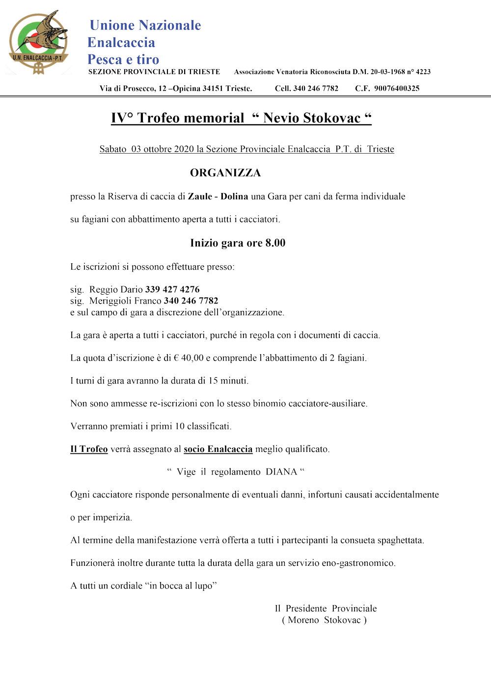 """IV° Trofeo memorial """" Nevio Stokovac """""""